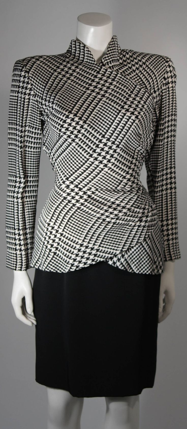 Vicky Tiel Black and White Houndstooth Cocktail Dress and Jacket Size Small | From a collection of rare vintage suits, outfits and ensembles at https://www.1stdibs.com/fashion/clothing/suits-outfits-ensembles/