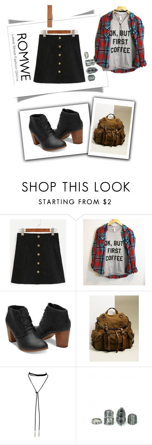 """""""Romwe A-line skirt"""" by stella-de-luna-fashion ❤ liked on Polyvore featuring Free People and Bølo"""