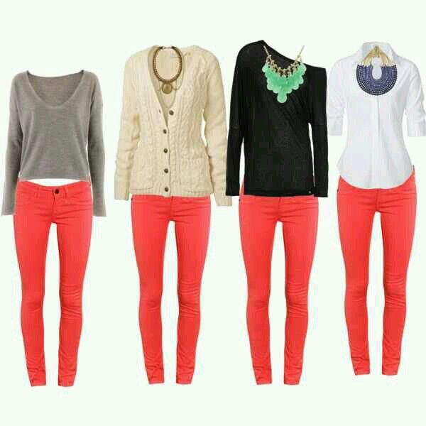 Four ways to wear coral jeans.