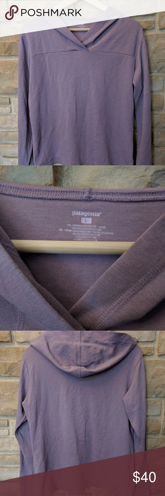 Patagonia hoodie Great midweight pullover hoodie.  No annoying zippers or strings.  So soft! Hardly worn.  Pretty lavender color - a little warmer toned than camera picked up. Patagonia Tops Sweatshirts & Hoodies