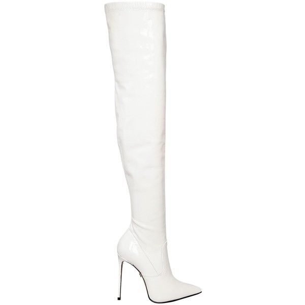 Le Silla Women 110mm Stretch Patent Leather Boots (28.755.995 VND) ❤ liked on Polyvore featuring shoes, boots, white, patent boots, side zipper boots, leather heel boots, high heel shoes and white patent leather shoes