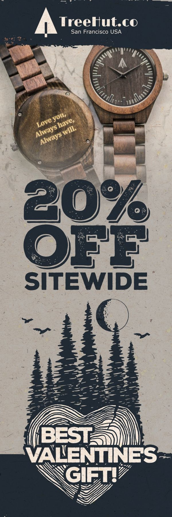 Save 20% off site-wide for the Tree Hut Valentines Day Sale! Handcrafted in San Francisco. Nature-inspired designs that make the perfect gift for your special ones! See the full collection at Treehut Co.
