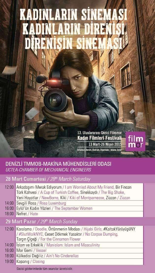 13. Uluslararası Gezici Filmmor Kadın Filmleri Festivali Denizli'de
