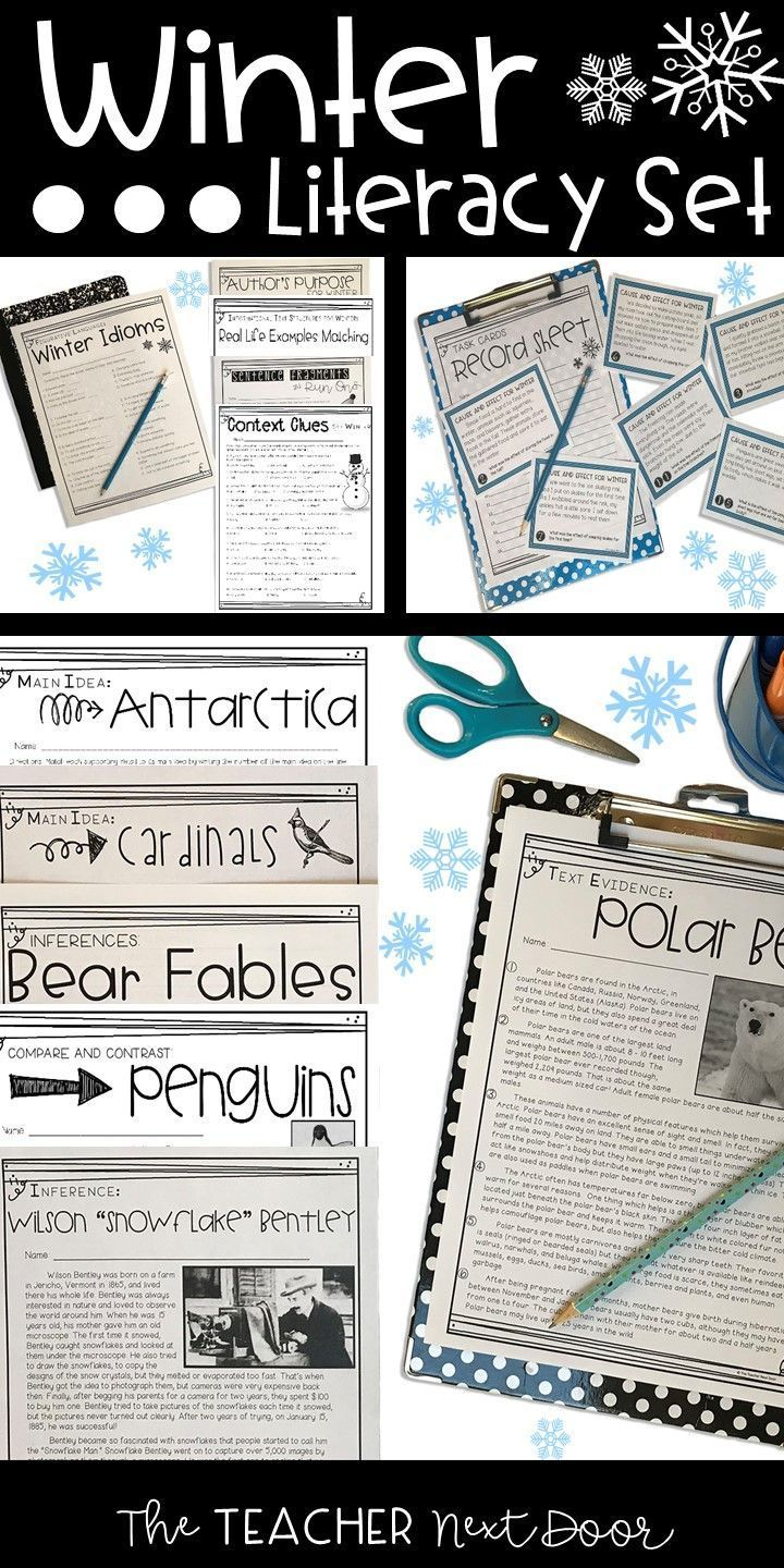 Winter Literacy Set For 4th 5th Grade Winter Fun Pinterest