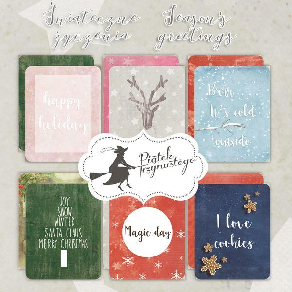 Zestaw kart do journalingu Świąteczne życzenia 10x7,5cm