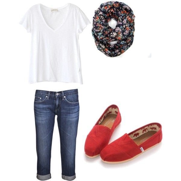 My everyday outfit in spring: cropped jeans, toms, and v or scoop neck tshirt.