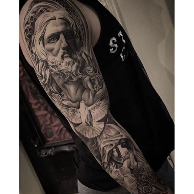 Amazing artist Christopher Crooked Lee @chriscrooked Bernini Jesus Virgin Mary tattoo sleeve ...
