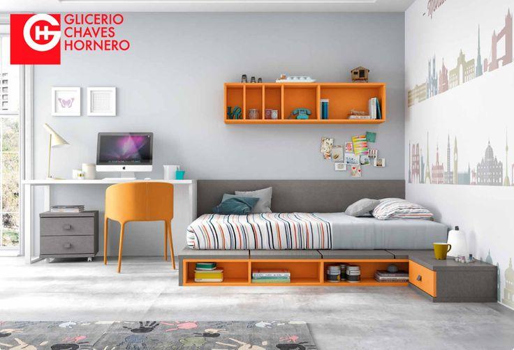 Dormitorio infantil o juvenil con cama del cat logo for Catalogo de camas