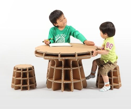 The furniture pieces—designed by Masahiro Minami—are made of reinforced corrugated fiberboard, lightweight, durable and completely recyclable