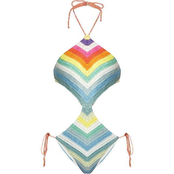 Mara Hoffman Prismatic-striped crochet cut-out swimsuit ($115) ❤ liked on Polyvore featuring swimwear, one-piece swimsuits, swimsuits, bathing suits, mara hoffman, multi, cut out one piece swimsuit, halter top, cut-out swimsuits and crochet bathing suit