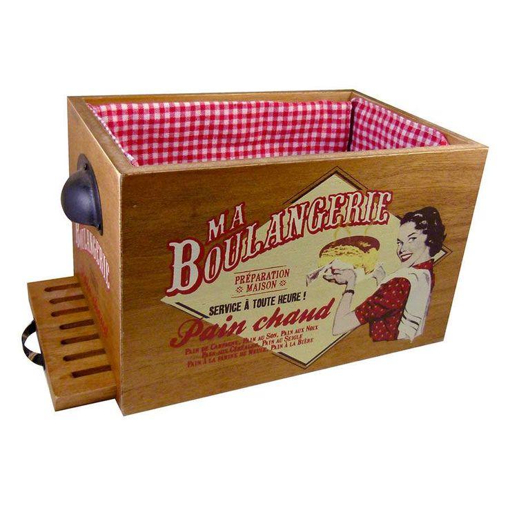 pani re en bois r tro avec planche d couper le pain. Black Bedroom Furniture Sets. Home Design Ideas