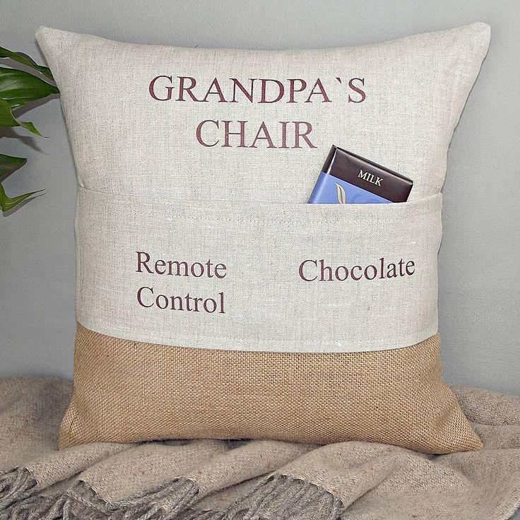' Grandad's Chair ' Personalised Pocket Cushion, gifts, for my dad as nobody else can sit in his chair.
