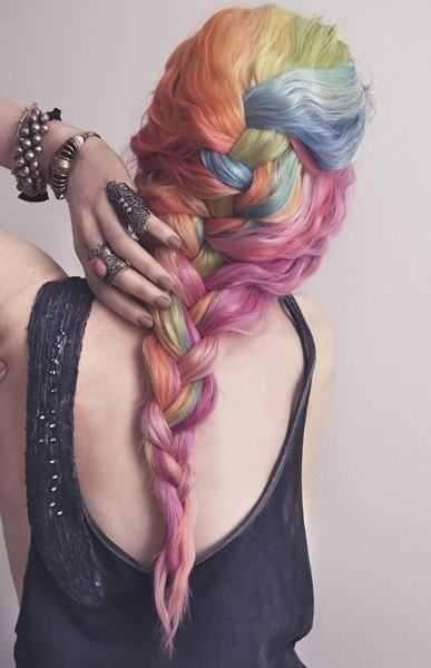 Multi bright hair  #punk #carnival