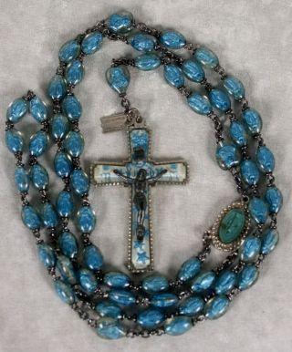 Vintage Lourdes Blue Lucite Bubble Rosary Catholic Saint Beads Legatura Alpacca photo