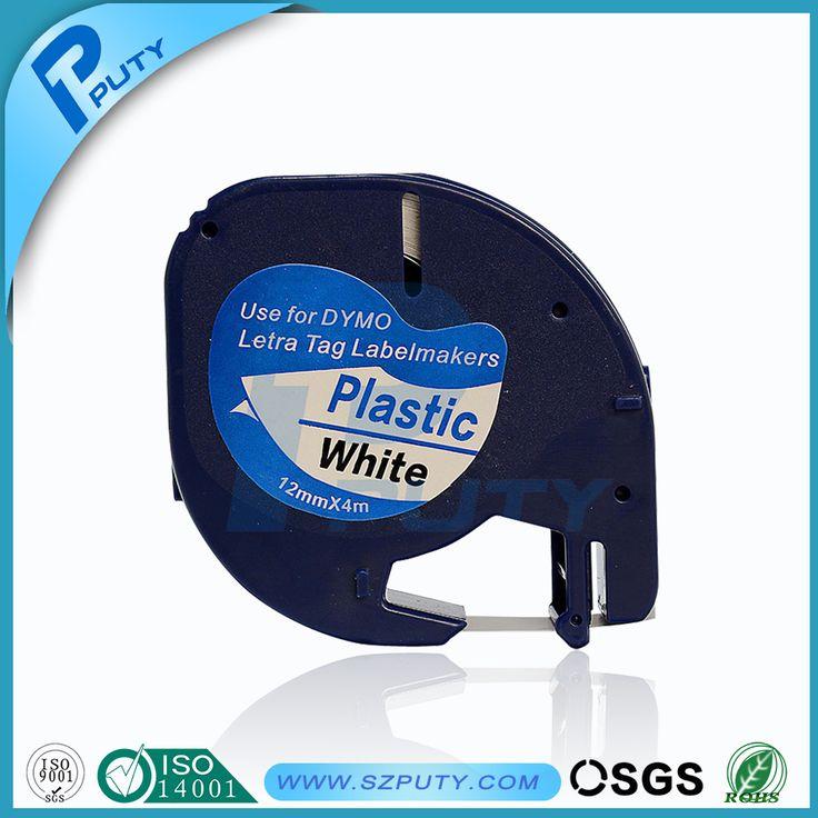 Comaptible DYMO LetraTag plastic tape black on white label LT 91201
