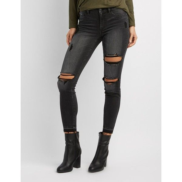 Refuge Skin Tight Legging Destroyed Jeans ($23) ❤ liked on Polyvore featuring jeans, black, low rise skinny jeans, destructed jeans, ripped jeans, distressed jeans and distressed zipper jeans