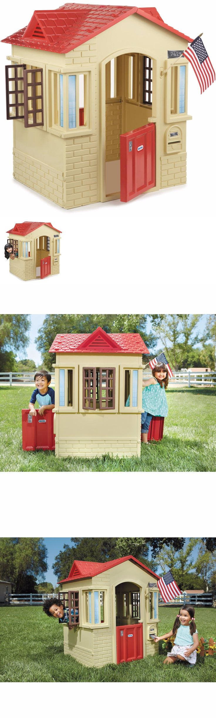 Permanent Playhouses 145995: Children Outdoor Play House Kids Plastic Playhouse Tan Cottage Toddler Indoor -> BUY IT NOW ONLY: $120 on eBay!