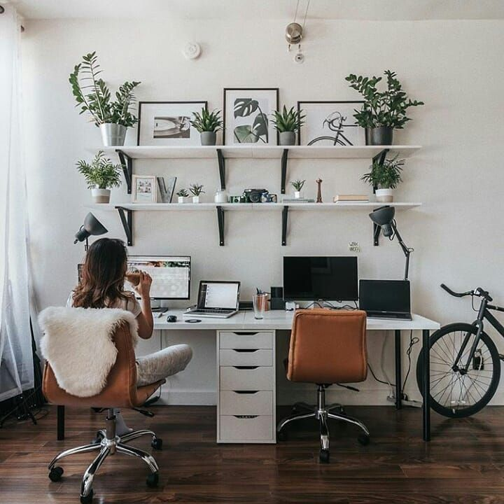 Homeoffice Best Interior Design: Plants, Floating Shelves And All White Decor. Home Office