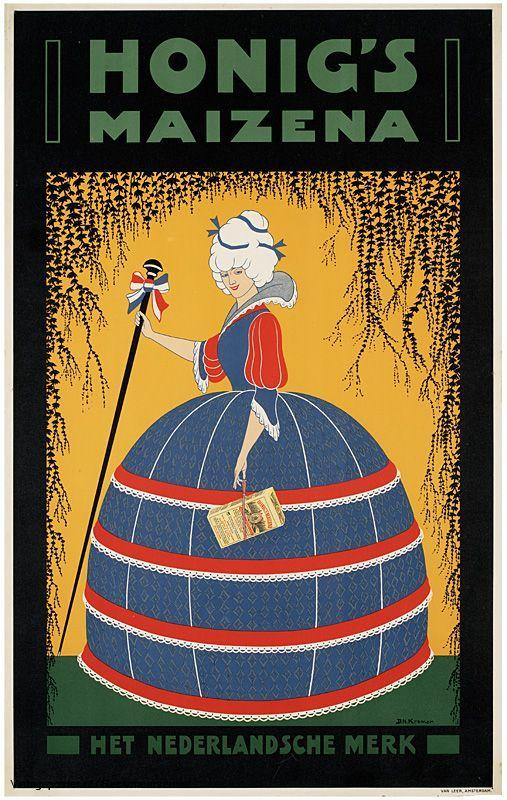 Reclame posters | 1900 - 1925 | Honig's maizena het Nederlandsche merk | Vintageposter.nl | Vintage Posters | Historische Posters | Historic...
