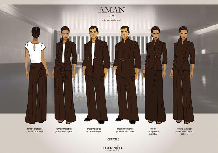 Resort hotel uniforms found on uniformen for Spa uniform patterns