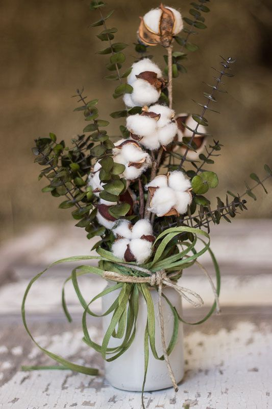 Cotton Boll Arrangement  Mason Jar With Cotton  by QueenBeeWreath