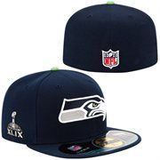 Mens Seattle Seahawks New Era College Navy Super Bowl XLIX Bound 59FIFTY On-Field Game Fitted Hat