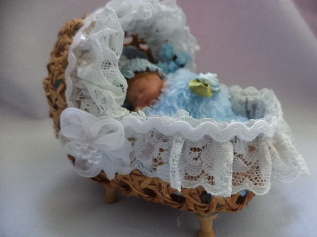 OOAK Beautiful Hand Made Miniature clay baby boy and crib,Unique design