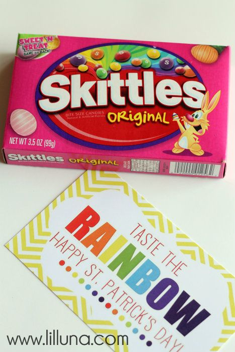 Taste the Rainbow Gift idea with FREE prints. { lilluna.com } Kids will love this colorful gift!!