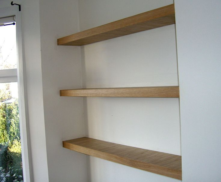Real oak finish chunky floating shelves