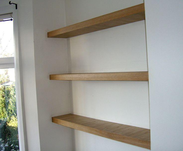 Real oak finish chunky floating shelves