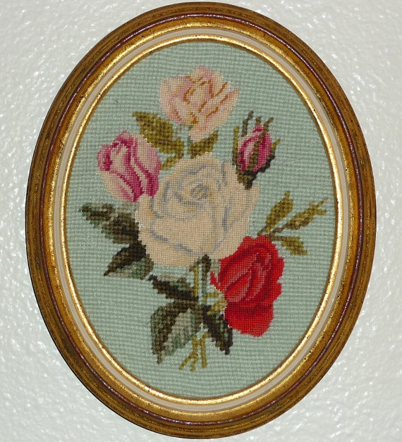 Framed Needlepoint Petit Point ROSES by pmandmm on Etsy, $20.00