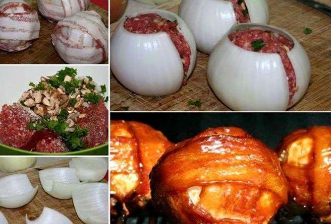 Medalhão de bacon,cebola e carne moída