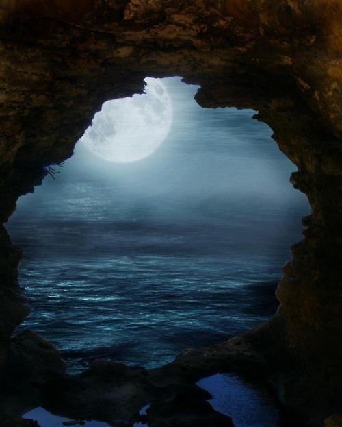 oooohDreams, Nature, Sea Caves, Moon, Beautiful, Ocean, Blue Moon, Photography, Moonlight