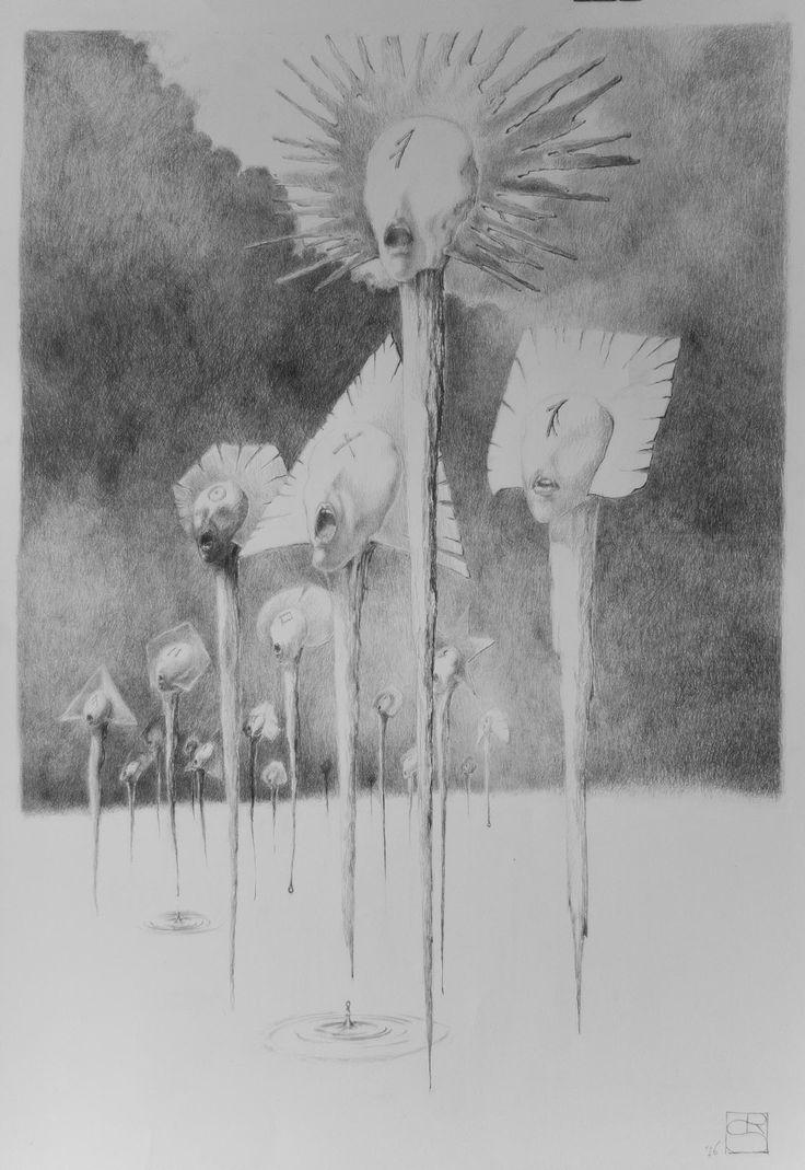 """""""Głosy""""; Ołówek, 100 x 70 cm, karton"""