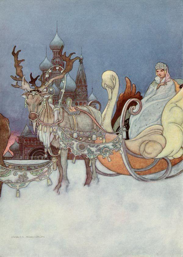 """Charles Robinson (1870-1937), illustration for """"The remarkable Rocket"""" by Oscar Wilde. """"La slitta aveva la forma di un gran cigno d'oro, e fra le ali del cigno stava adagiata la piccola Principessa in persona."""""""