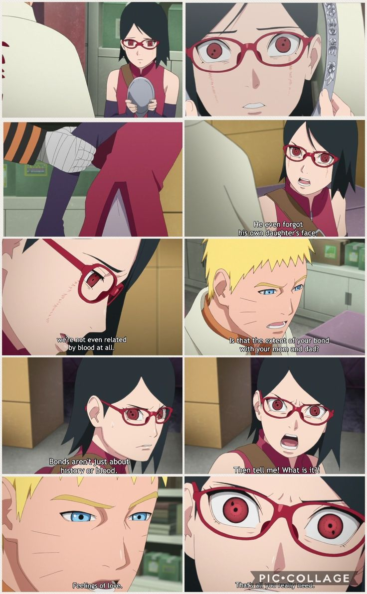 Naruto tells Sarada that the feeling of Love is the one that builds a family, not the relativity by blood, even though Sakura is her real mother! Cha!  Boruto Episode 22 - Gaiden ❤️❤️❤️