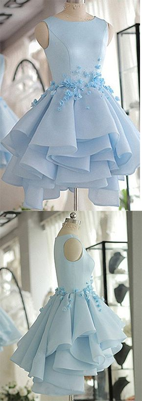 Sky Blue Homecoming Dress,A-line Scoop Neck Prom Dress,Satin Tulle Short Flowers Original Prom Dresses,Mini Dress,Sweet 16 Dress,Homecoming Dress,GFT35
