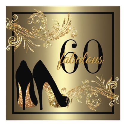 Dancing Shoes - Fabulous 60th Birthday Invitation - glitter glamour brilliance sparkle design idea diy elegant #danceshoes