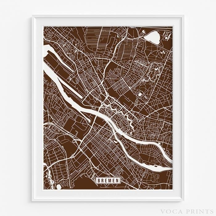 Bremen germany street map print Products Pinterest
