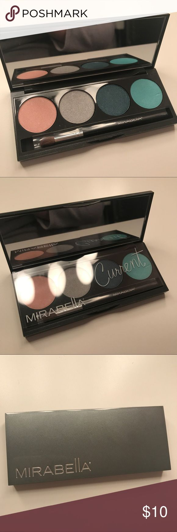 Mirabella Current Eyeshadow Palette New with tags! Never used! Comes with box and plastic cover. (Scratch on last shadow was from the corner of the plastic cover) Comes with free full sized brush! Mirabella Makeup Eyeshadow