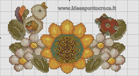 schema punto croce girasole e fiori thun: