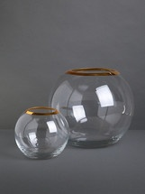 Lucy Farmbrough | Clear Glass Goldfish Bowls with Gold Rim by Wild at Heart on Luvocracy