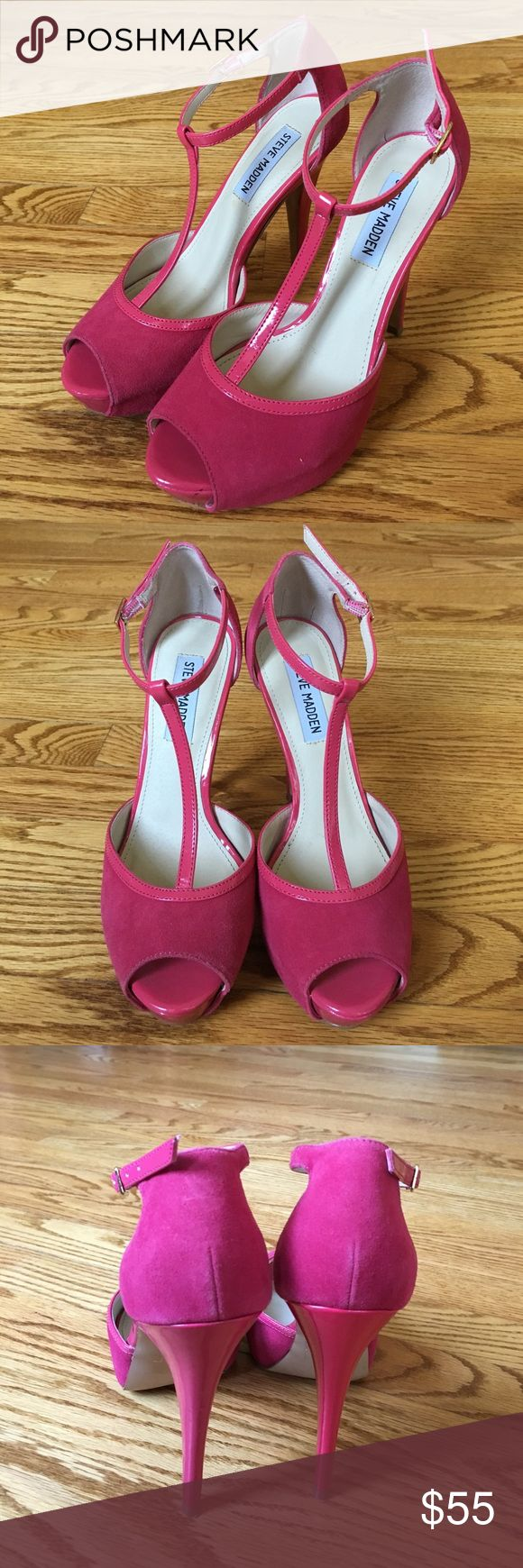 Steve Madden Hot Pink Heels Worn once! These statement heels can be great for many occasions! Leather upper piece and suede near toes and heel. Steve Madden Shoes Heels
