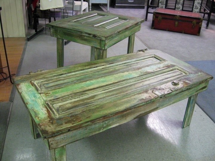 Vintage Doors Made Into A Coffee Table And End