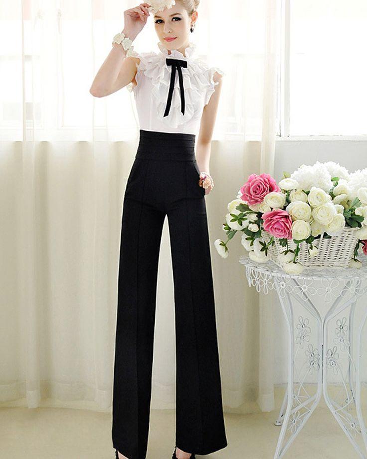 Aliexpress.com: Comprar Nuevas mujeres Casual cintura alta llamarada pierna ancha pantalones largos pantalones Palazzo Anne de pantalones de estilo fiable proveedores en Charing International Trade Co.,Ltd.