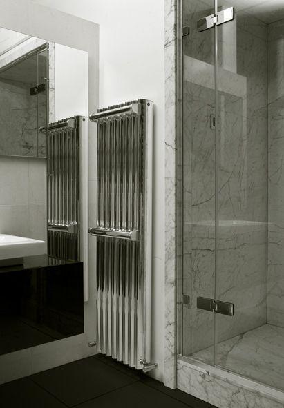 RON radiator with two towel rails from eskimo, Polished Aluminium finish www.eskimodesign.co.uk