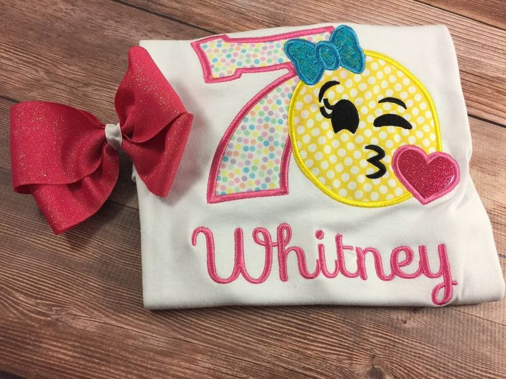 Girl Emoji Shirt;Emoji Birthday;Girl Birthday Shirt;Custom Birthday;Personalized Shirt;Embroidered Shirt;Winking Emoji;Kiss Emoji;Love Emoji by SweetpeasBowsNmore on Etsy