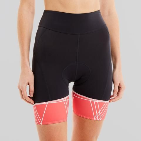 womens padded cycling shorts with red band