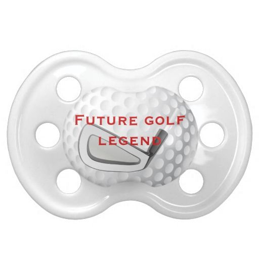 """This fun golf themed baby pacifier has the look of a dimpled golf ball on it, with an illustration of a golf club, with changeable text that says """"Future Golf Legend"""" in red on it. Perfect for the baby of parents who love golf. Makes a nice, unique baby gift. It can be customized to your liking."""