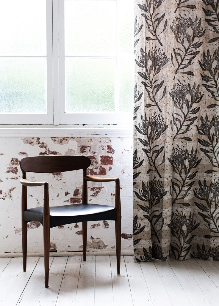 Waratah hand-screen printed curtains by Ink & Spindle